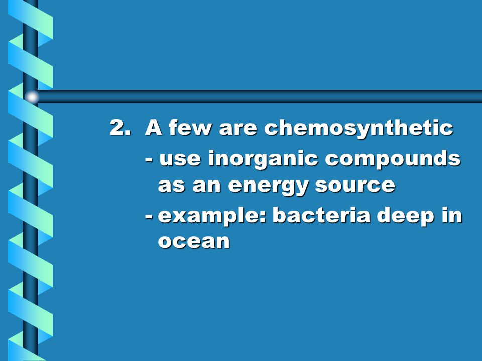 2. A few are chemosynthetic