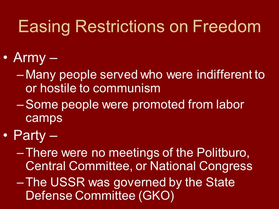 Easing Restrictions on Freedom