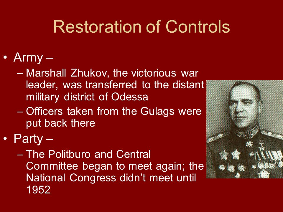 Restoration of Controls