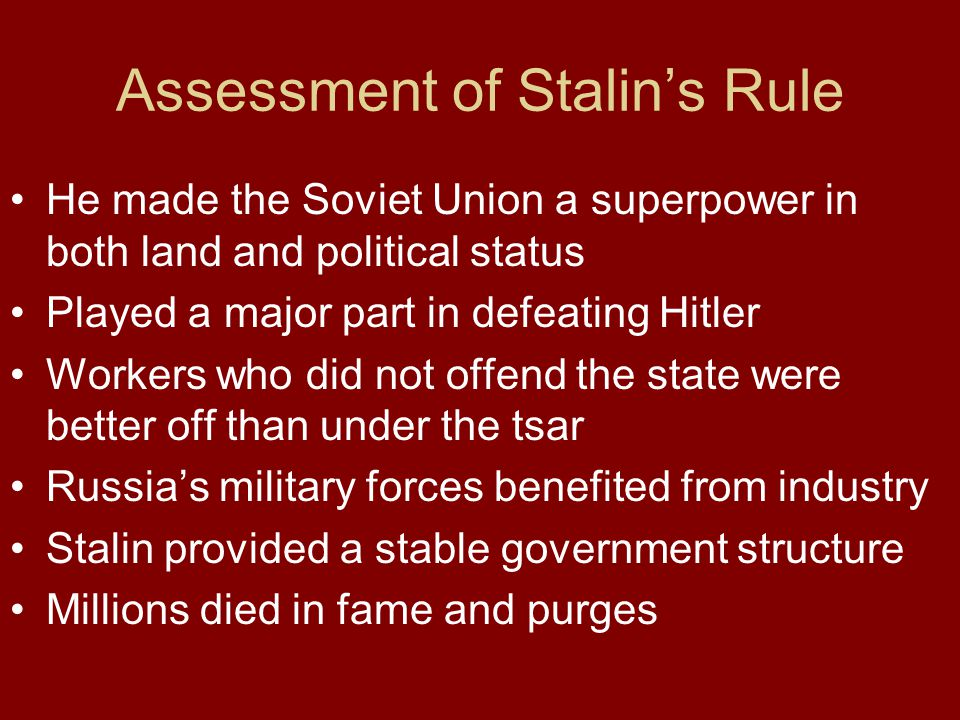 Assessment of Stalin's Rule