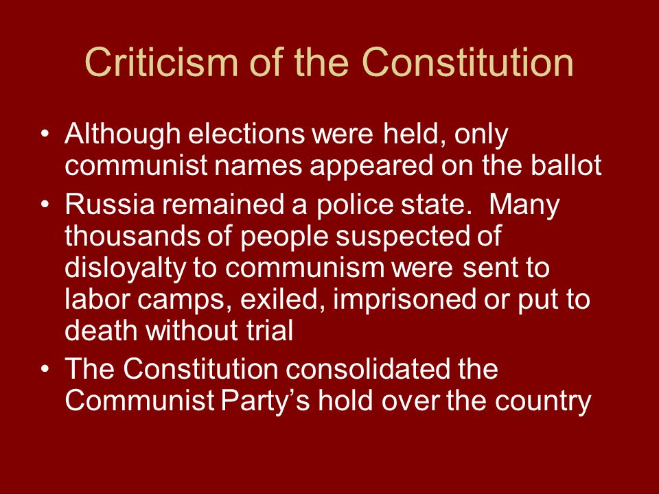 Criticism of the Constitution