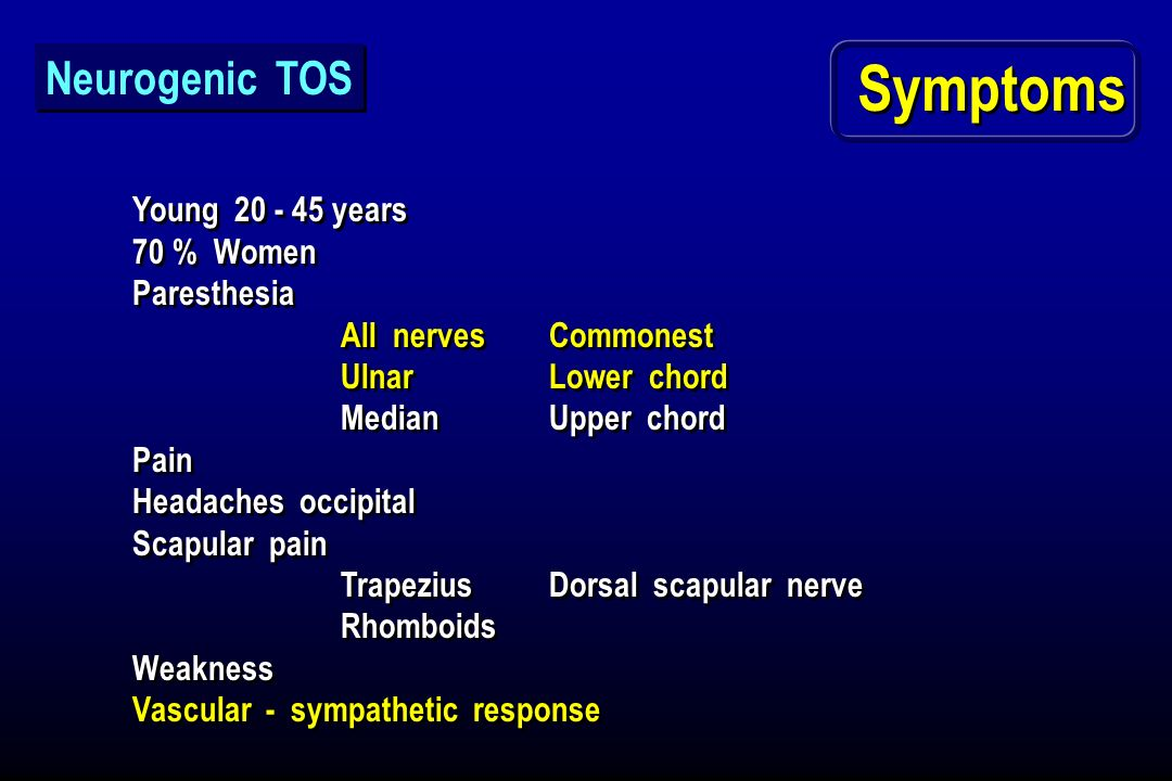 Symptoms Neurogenic TOS Young 20 - 45 years 70 % Women Paresthesia