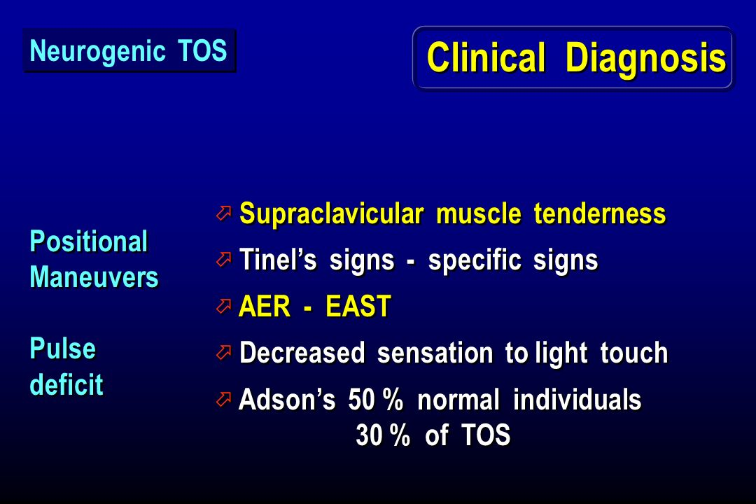 Clinical Diagnosis Neurogenic TOS Supraclavicular muscle tenderness