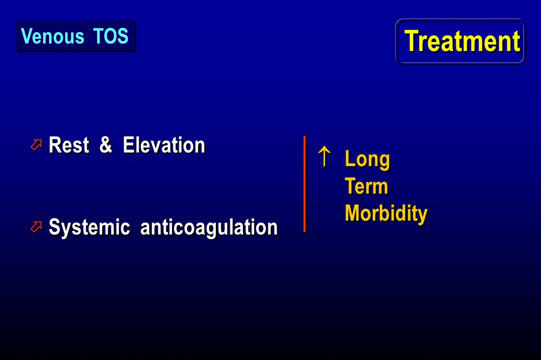 Treatment Rest & Elevation  Long Term Morbidity