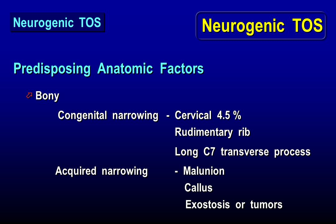 Neurogenic TOS Predisposing Anatomic Factors Neurogenic TOS Bony