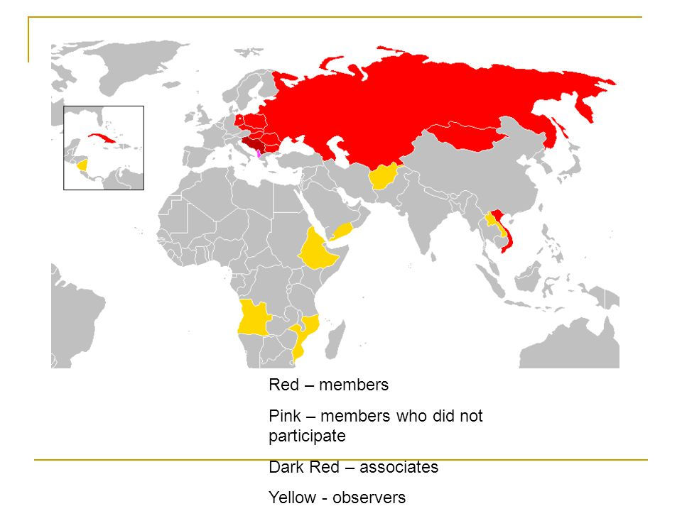 Red – members Pink – members who did not participate Dark Red – associates Yellow - observers