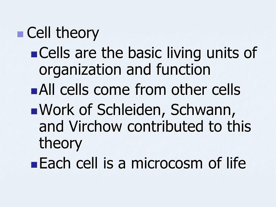 Cell theory Cells are the basic living units of organization and function. All cells come from other cells.