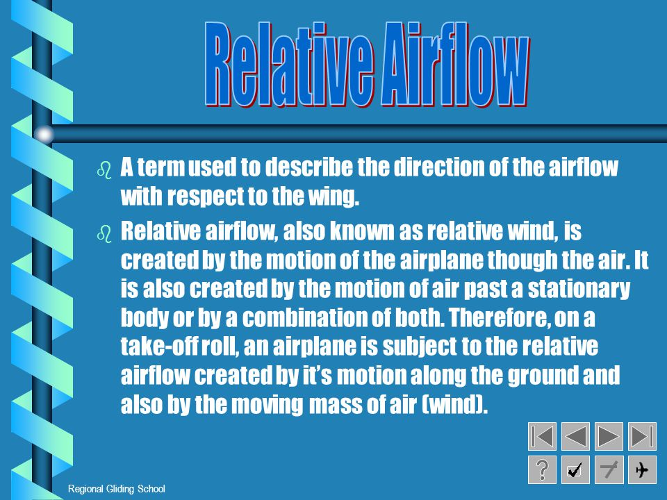 Relative Airflow A term used to describe the direction of the airflow with respect to the wing.