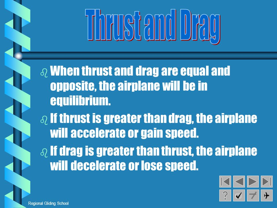 Thrust and Drag When thrust and drag are equal and opposite, the airplane will be in equilibrium.