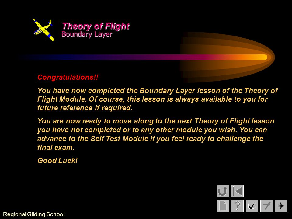 Theory of Flight Boundary Layer Congratulations!!