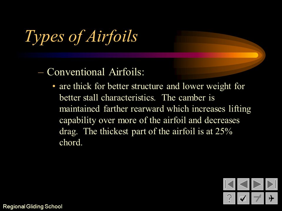 Types of Airfoils Conventional Airfoils: