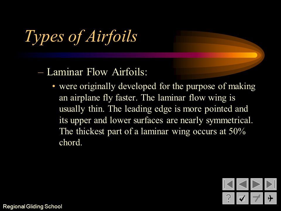 Types of Airfoils Laminar Flow Airfoils: