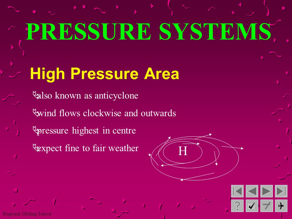 PRESSURE SYSTEMS High Pressure Area H also known as anticyclone