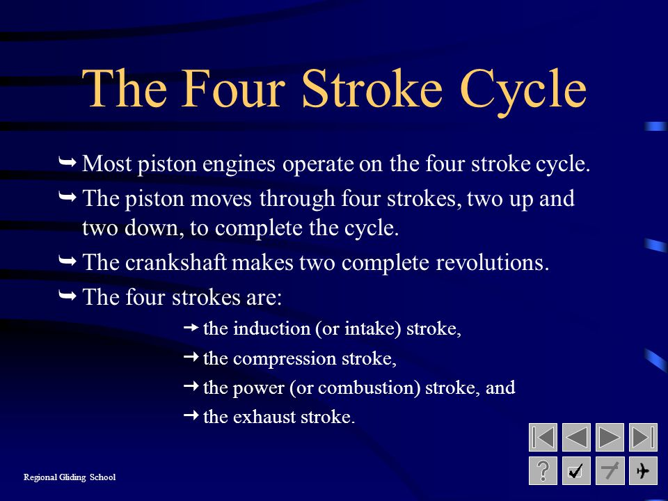 The Four Stroke Cycle Most piston engines operate on the four stroke cycle.