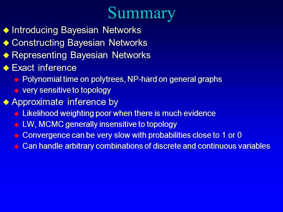 Summary Introducing Bayesian Networks Constructing Bayesian Networks