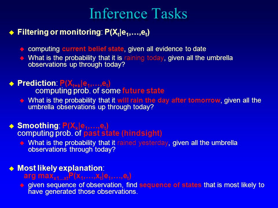 Inference Tasks Filtering or monitoring: P(Xt|e1,…,et)