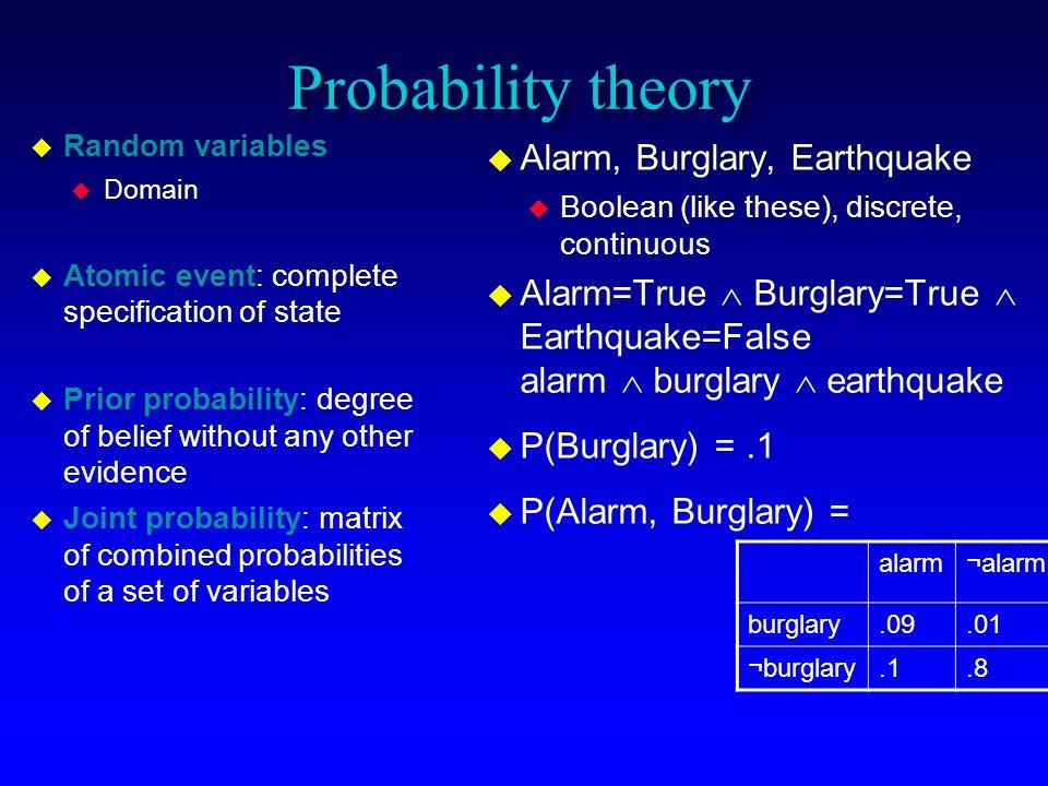 Probability theory Alarm, Burglary, Earthquake