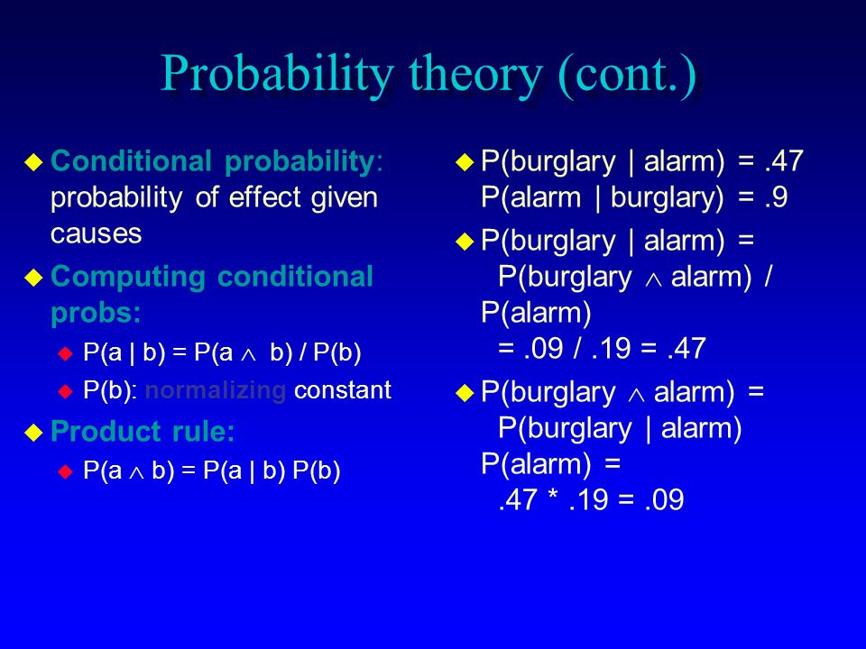 Probability theory (cont.)