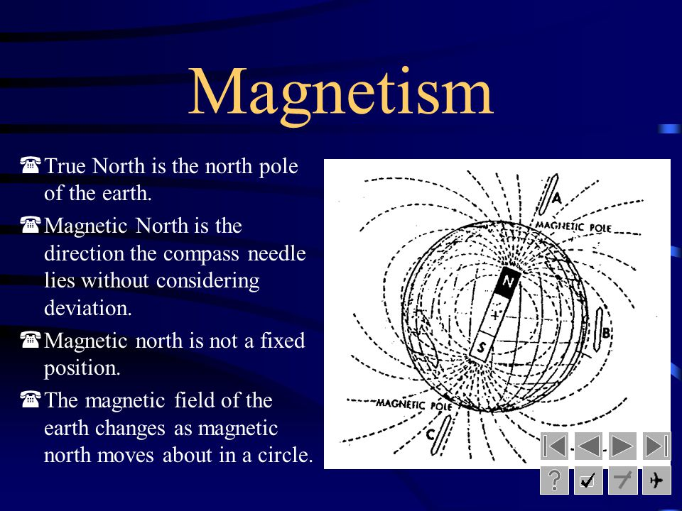 Magnetism True North is the north pole of the earth.