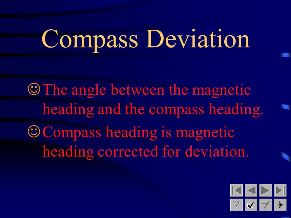 Compass Deviation The angle between the magnetic heading and the compass heading.