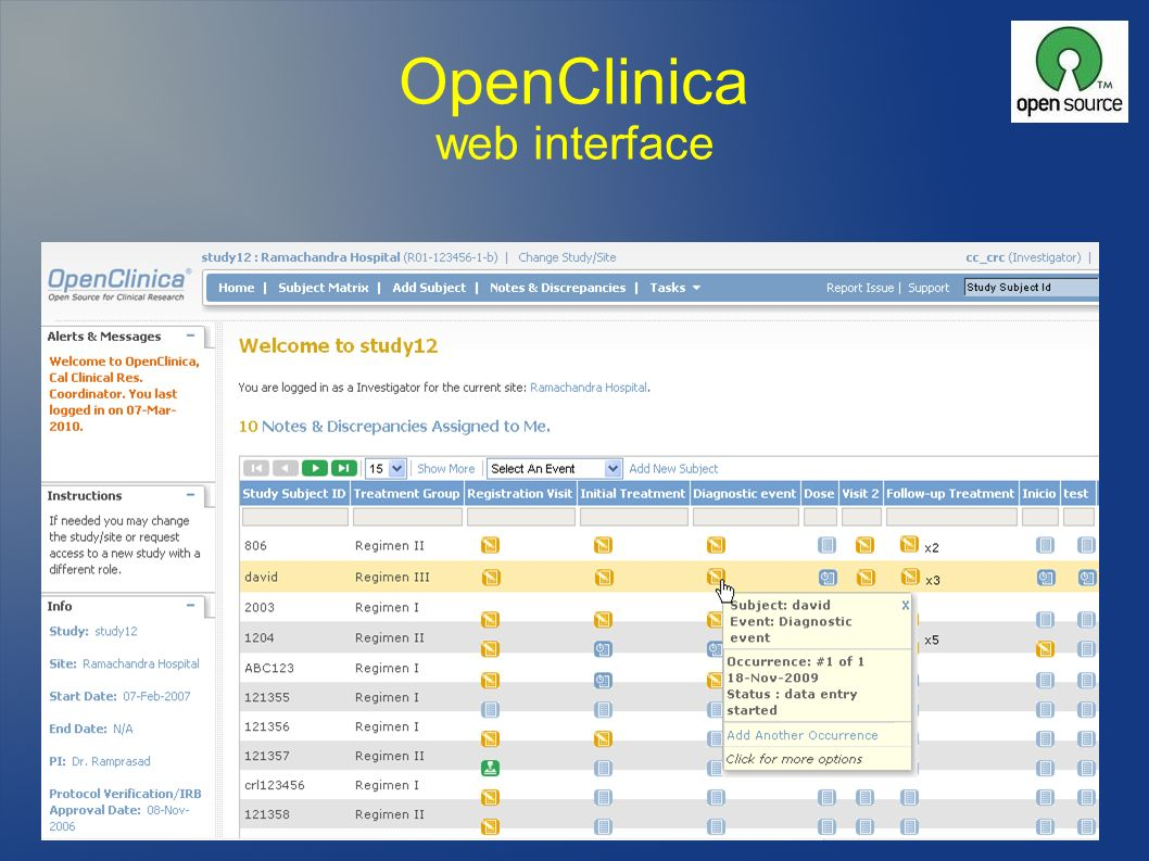OpenClinica web interface