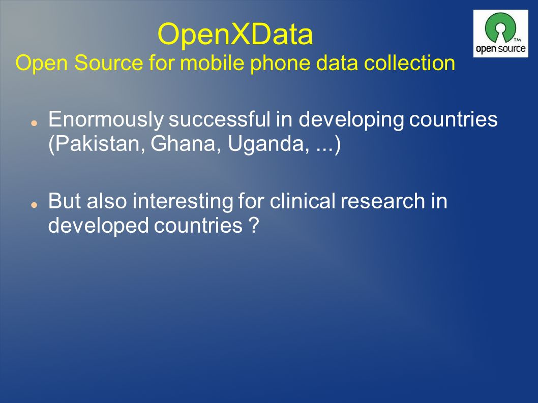 OpenXData Open Source for mobile phone data collection