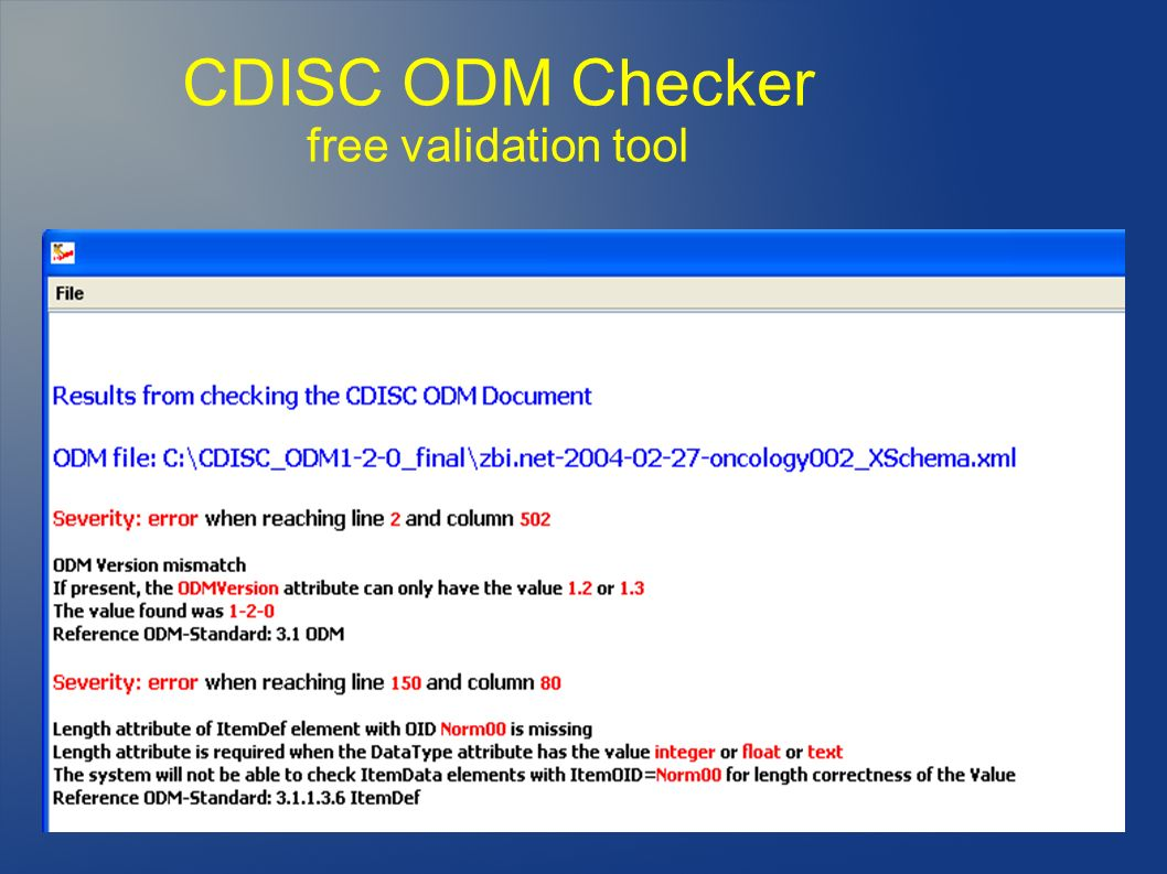 CDISC ODM Checker free validation tool