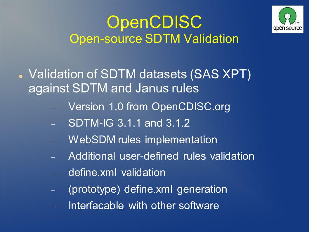 OpenCDISC Open-source SDTM Validation