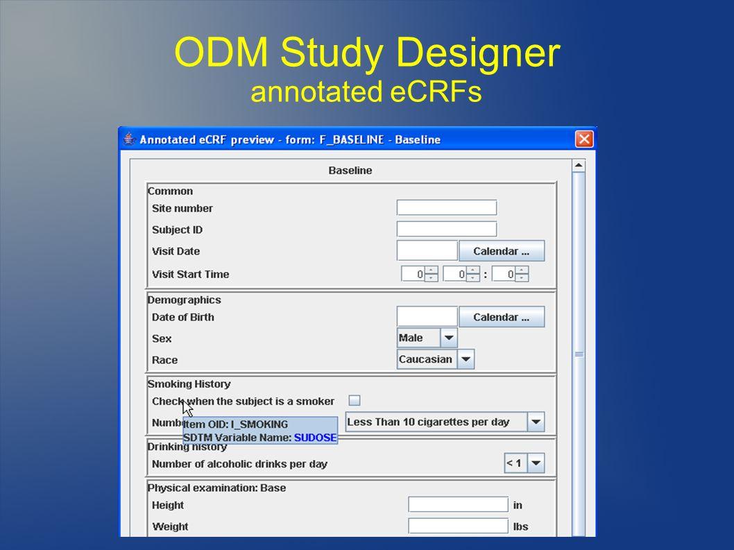 ODM Study Designer annotated eCRFs