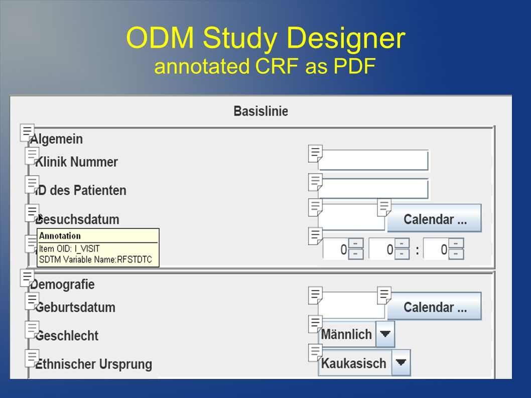 ODM Study Designer annotated CRF as PDF