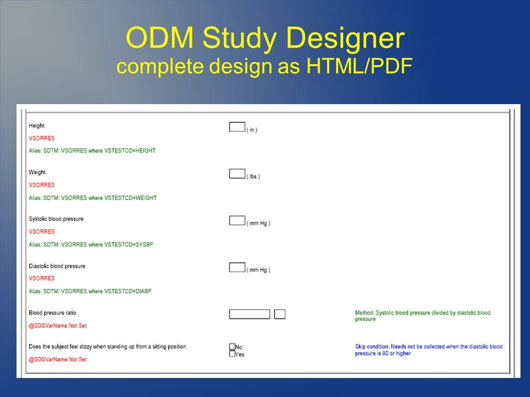 ODM Study Designer complete design as HTML/PDF