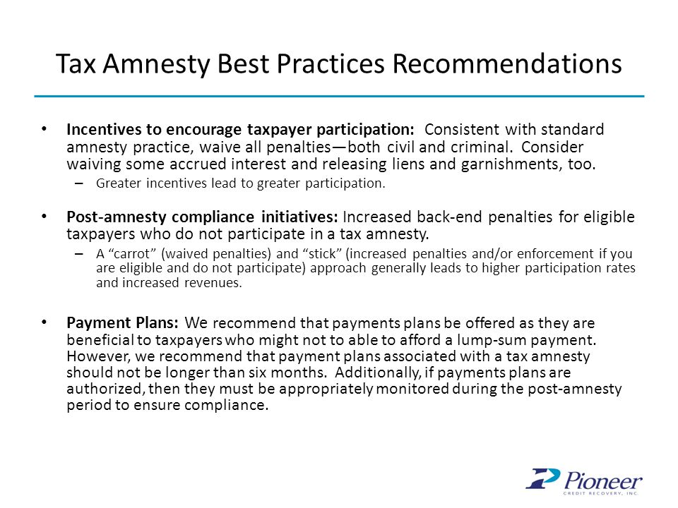 Tax Amnesty Best Practices Recommendations