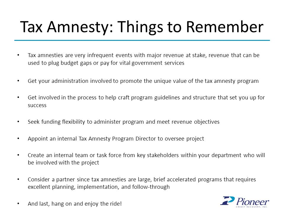 Tax Amnesty: Things to Remember