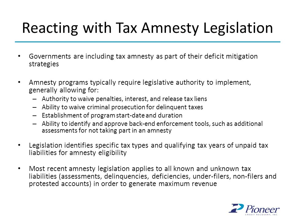 Reacting with Tax Amnesty Legislation