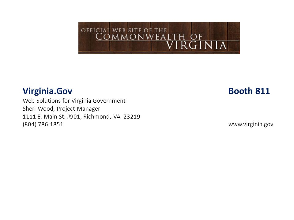 Virginia.Gov Booth 811 Web Solutions for Virginia Government