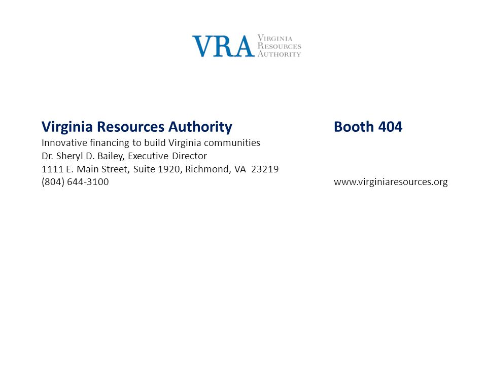 Virginia Resources Authority Booth 404