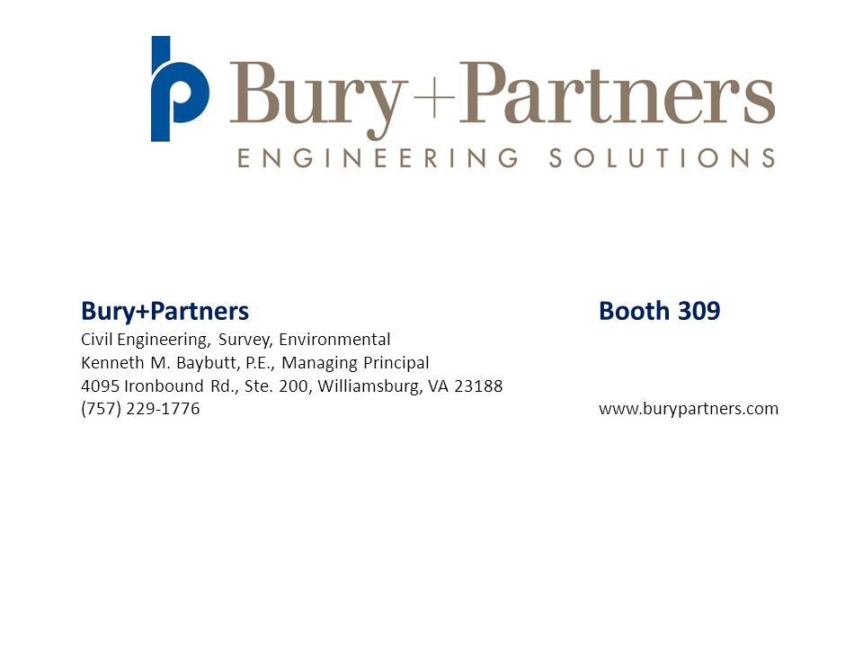 Bury+Partners Booth 309 Civil Engineering, Survey, Environmental