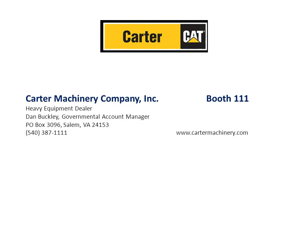 Carter Machinery Company, Inc. Booth 111