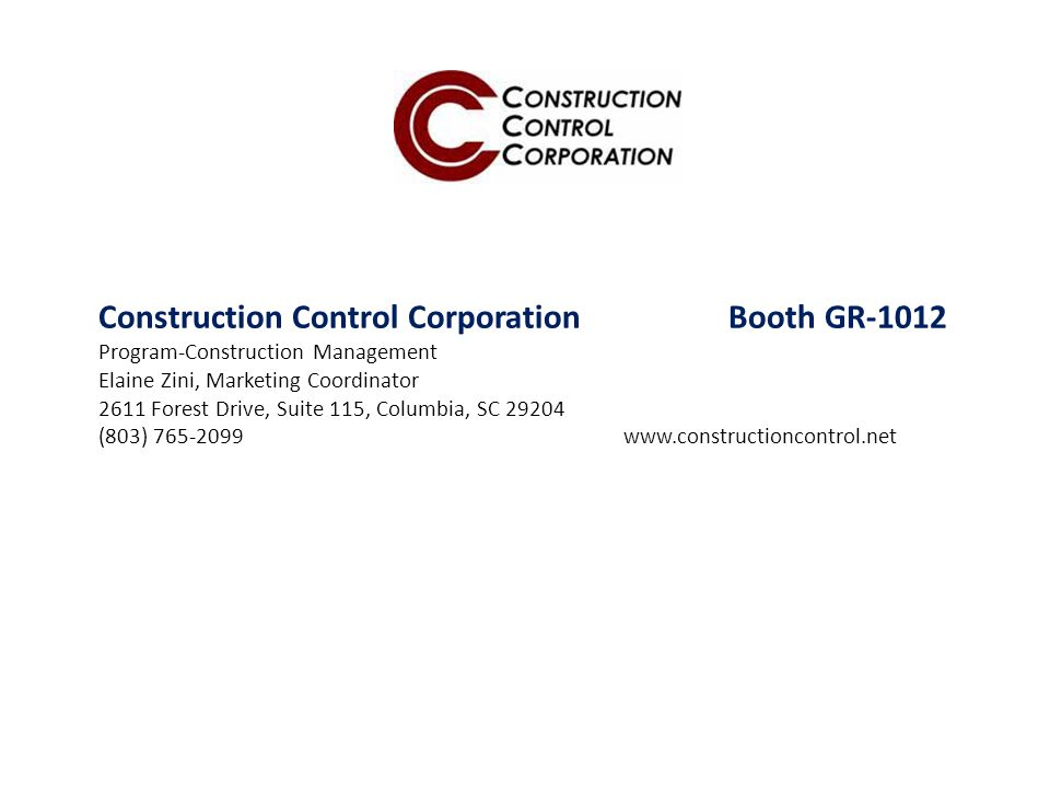 Construction Control Corporation Booth GR-1012
