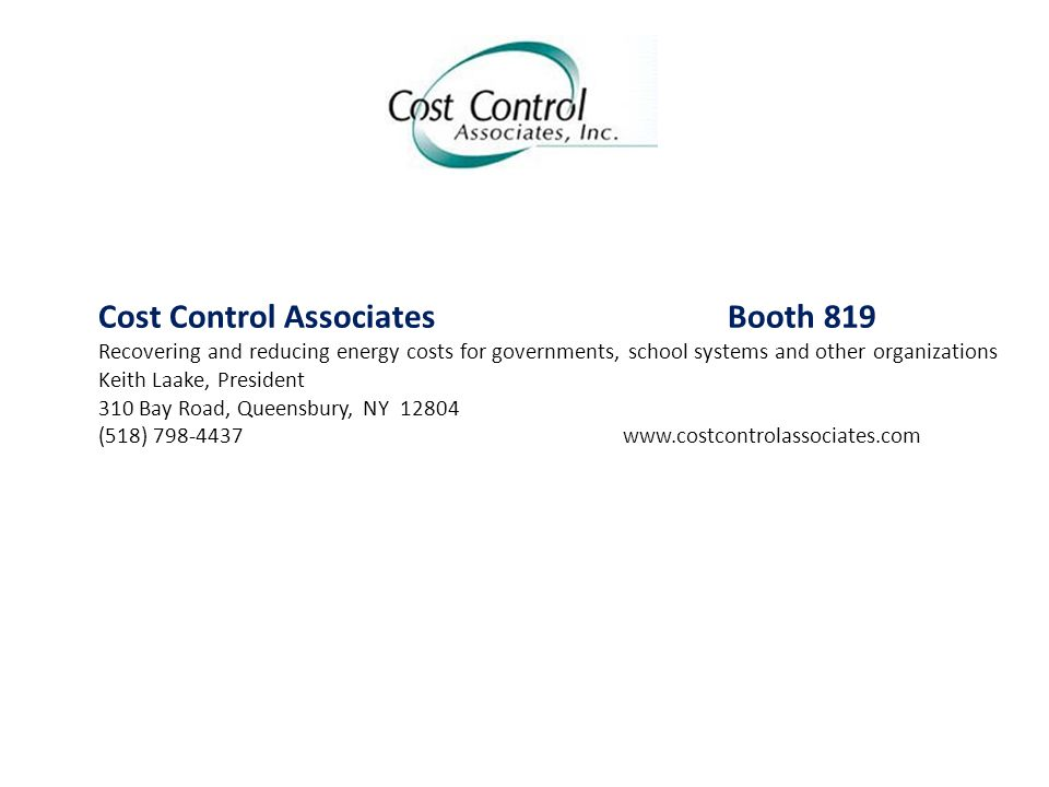 Cost Control Associates Booth 819