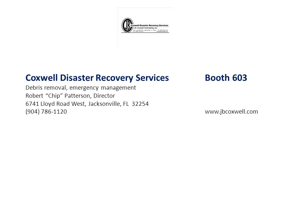 Coxwell Disaster Recovery Services Booth 603