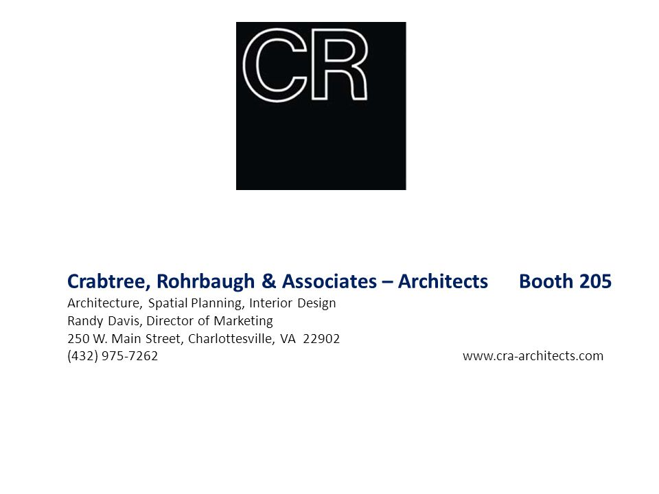 Crabtree, Rohrbaugh & Associates – Architects Booth 205