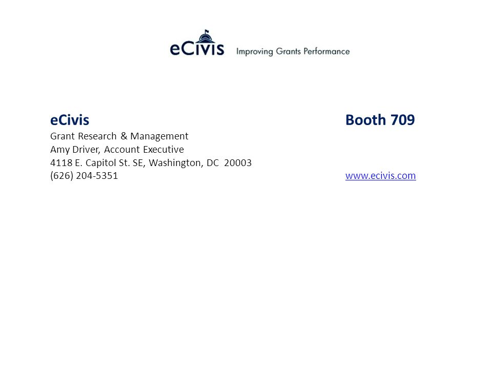 eCivis Booth 709 Grant Research & Management