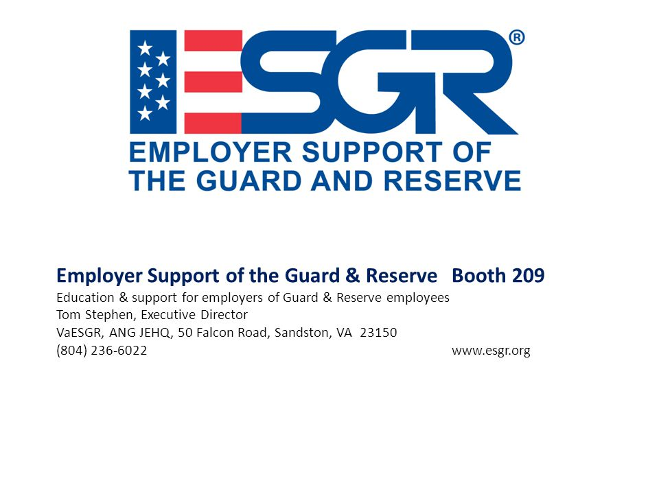 Employer Support of the Guard & Reserve Booth 209