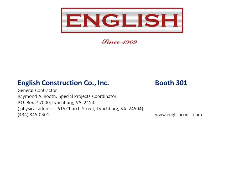 English Construction Co., Inc. Booth 301