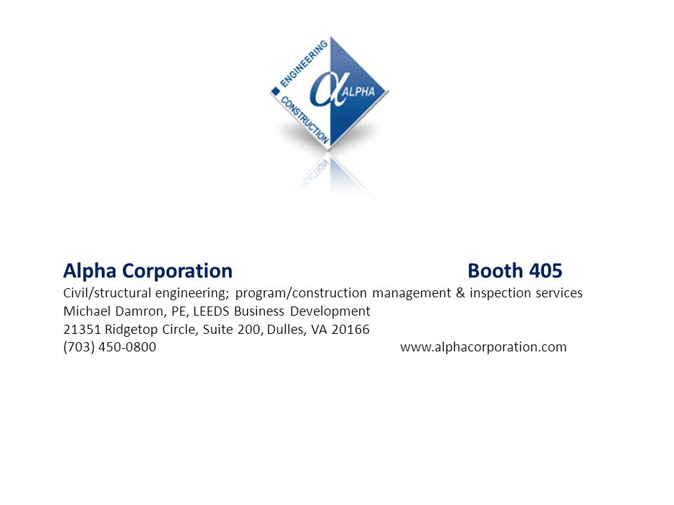 Alpha Corporation Booth 405