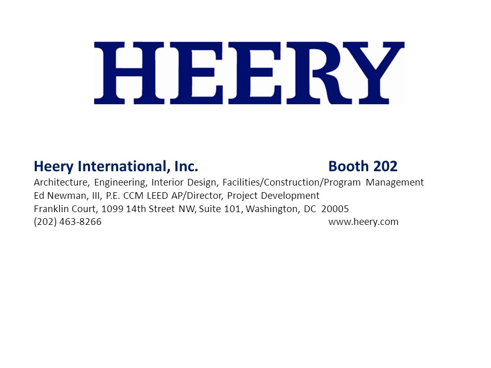 Heery International, Inc. Booth 202