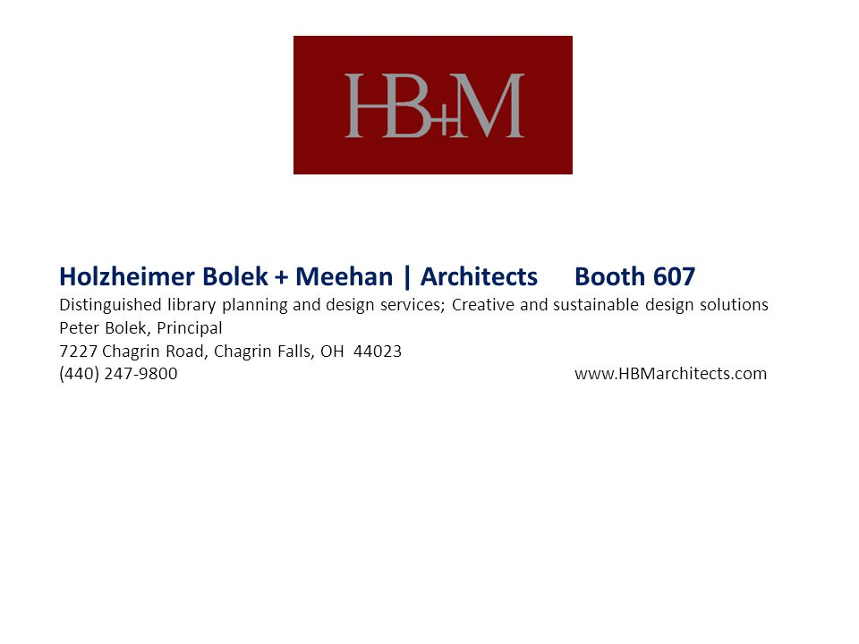 Holzheimer Bolek + Meehan | Architects Booth 607