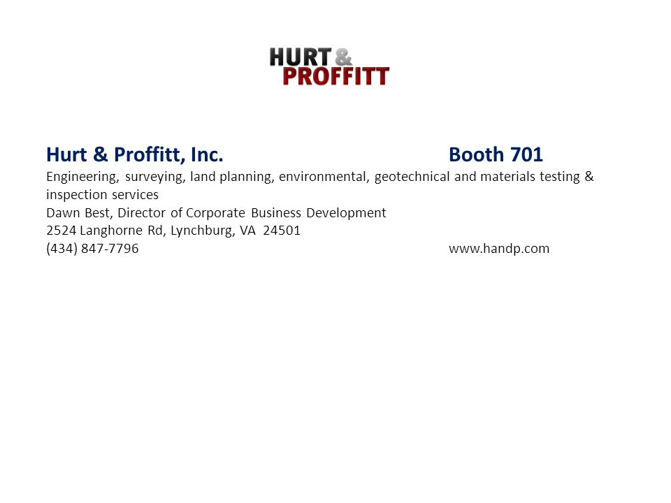 Hurt & Proffitt, Inc. Booth 701