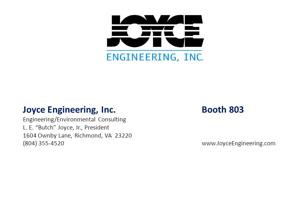 Joyce Engineering, Inc. Booth 803